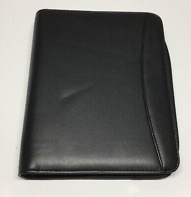 Zippered Black Vinyl Portfolio Binder Organizer With Pockets