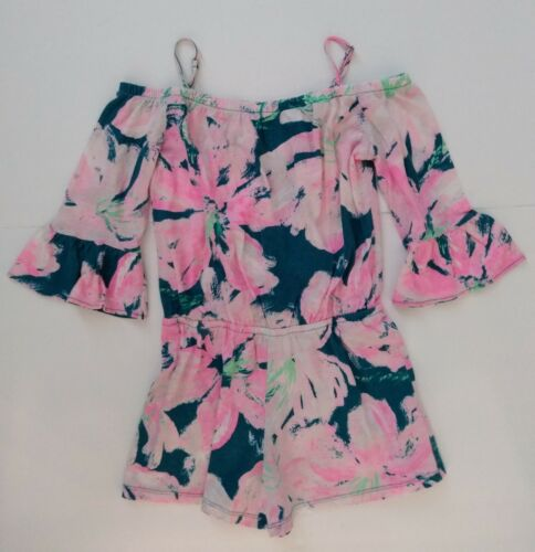 LILLY PULITZER Romper Teal/Pink Ruffle Sleeve Girls Size L 8-10
