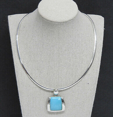 """Sally C Treasures Turquoise Pendant 18"""" Sterling Necklace 35g HSN Jewelry SX925"""