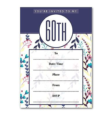 60th Birthday Party Invitations - Pack of 16 Floral Theme A6 cards