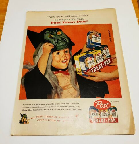 Original Vintage 1958 Post Cereal Halloween Dick Sargent 11x14 print ad