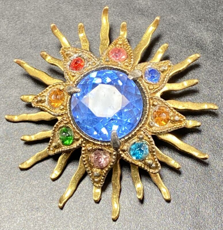 "Vintage Antique Art Deco Brooch Pin 1.5"" Starburst Colorful Crystal Rhinestones"