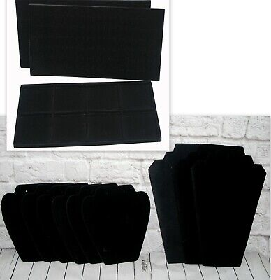 Jewelry Display Cards 8 Compartment Tray 72 Slot Ring Insert Pads Blk Velvet Lot