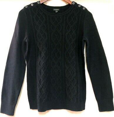 NWT Talbots Cable Knit Women's Long Sleeve Black Pull Over Sweater Size -