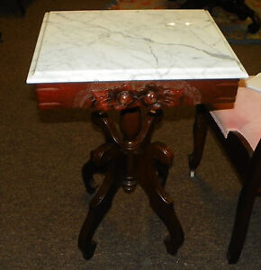 Mahogany-Flower-Carved-Marble-Top-Lamp-Table-Side-Table-TKC