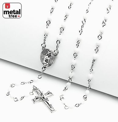 Rosary Silver White Bead Guadalupe Jesus Cross 25