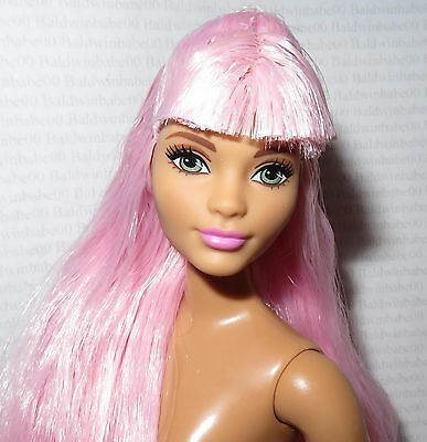 NUDE BARBIE ~ CURVY PINK HAIR GREEN EYE FASHIONISTA EVOLUTION DOLL FOR OOAK
