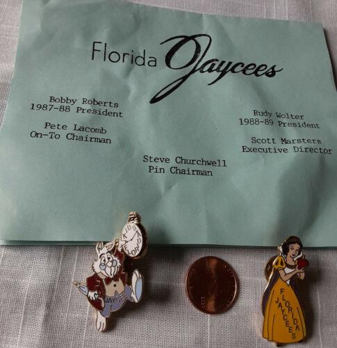 2 SNOW WHITE JAYCEES Collectible Pins FLORIDA + Rabbit in Alice Wonderland Lapel