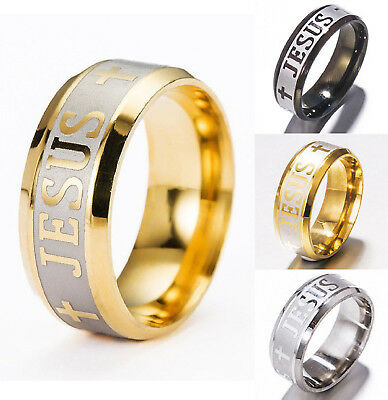 Jesus Cross Ring 8MM Stainless Steel Titanium Band US Size 6 - 14 Free Gift Box