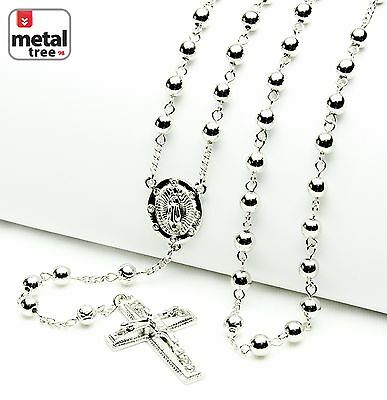 Luxury Fashion Silver Bead Guadalupe & Jesus Cross 28