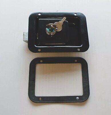 Paddle Latch all Steel Cabinet Lock 120 x 90mm Black & 2 Keys - Exmoor Trim