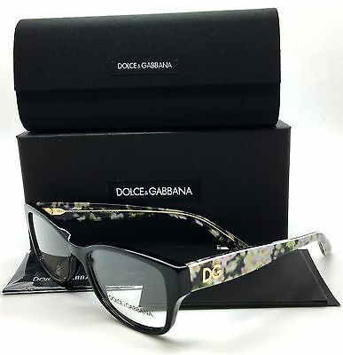 Dolce & Gabbana Black Eyeglasses DG 3204 2846 53 mm Flowers Demo Lenses
