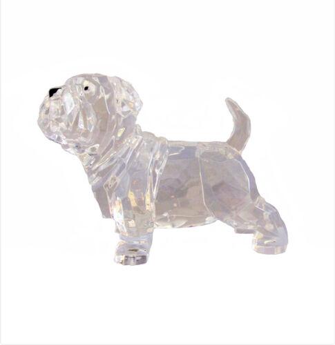 """English Bulldog Sharpei 90046 Mini Puppy Figurine Crystal Cut Acrylic Clear 4"""" L"""