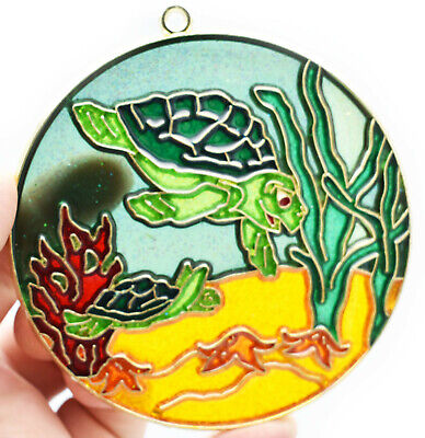 """Sea Turtle Suncatcher Colorful 4.25"""" Round with Suction Cup & Hook Beach Decor."""