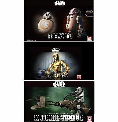 1 12 Star Wars C 3Po Bb8   R2d2 Scout Trooper Darth Vader Model Kit Bandai