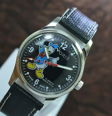 Beautiful Oris Donald Duck 17 Jewels ST 96 Hand Wind Men's Wrist Watch