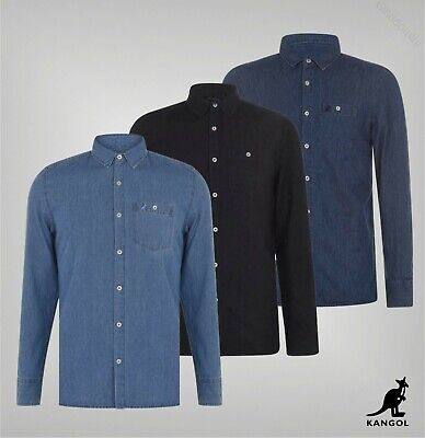 Mens Kangol Full Button Long Sleeves Denim Shirt Top Sizes from S to XXL