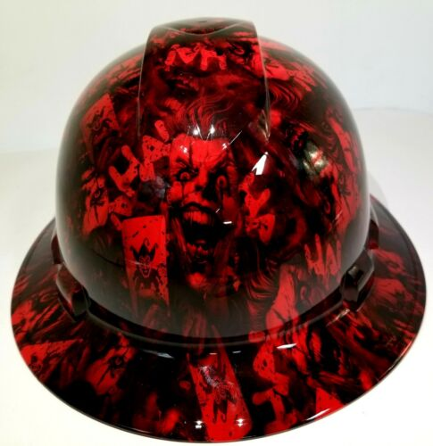 FULL BRIM Hard Hat custom hydro dipped , NEW CANDY RED RADIATION JOKER HA HA