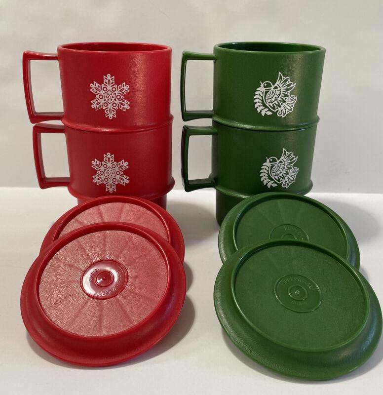 Vintage TUPPERWARE Holiday Handle Cups / Mugs  #1312 w/ Lids #1313 - Set Of 4