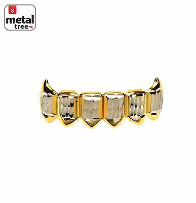 Men's Vampire Fangs Gold Toned Bottom 2 Tone Mouth Caps Teeth Grillz S020-C1-G](Vampire Teeth Caps)