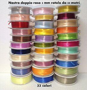 NASTRO-DOPPIO-RASO-3-MM-ROTOLO-BOBINA-50-METRI-36-COLORI-FAI-DA-TE-RIBBON-SATIN