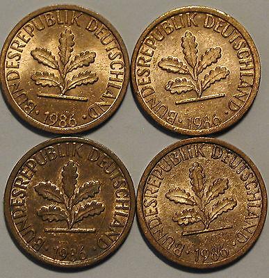 1 Pfennig 1986 D F G J Kompletter Satz