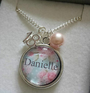 PERSONALISED jewellery Charm necklace birthday gift  13th16th 18th 21st present