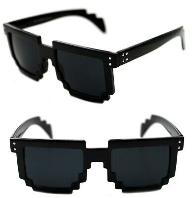 Mens Womens 8 Bit Tetris Pixel Sunglasses Polished Black Retro Novelty 90s  - 8 Bit Sunglasses