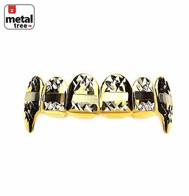 Men's Vampire Fangs 14k Gold Plated 2 Tone Mouth Caps Top Teeth Grillz L020-C3-G](Vampire Teeth Caps)
