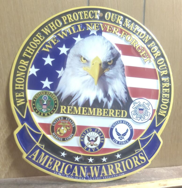 Large American Warriors Remembered Aluminum Sign