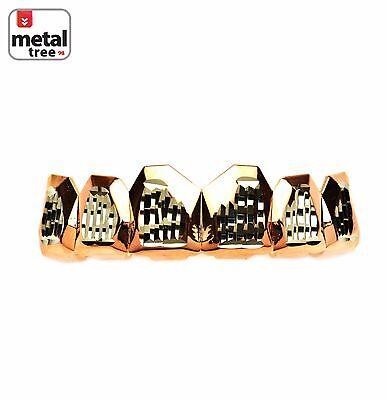 Herren Vereist aus Grillz Zähne Rosen Gold Beschichtet Diamantschliff 2 Tone (Grillz Gold Diamant Zähne)