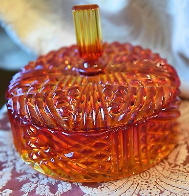 MID CENTURY CANDY DISH COVERED DIVIDED SECTIONAL VINTAGE ORANGE AMBERINA 6