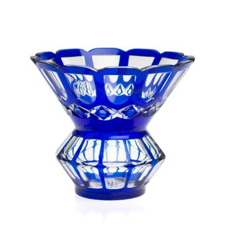 Vintage Bohemian Heavy Blue Overlay Art Glass Panel Vase  c1950
