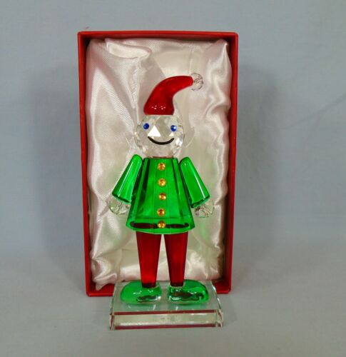 """Simon Designs Crystal Christmas Holiday Elf Figurine Paperweight 5.2"""" In Box"""