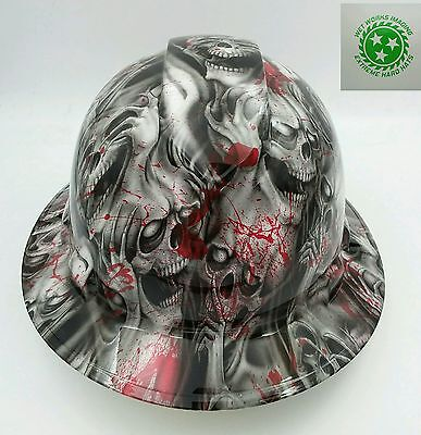 Hard Hat Full Brim Custom Hydro Dipped Osha Approved Blood Skulls