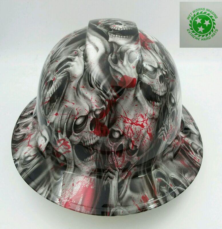 Hard Hat FULL BRIM custom hydro dipped , OSHA approved BLOOD SKULLS
