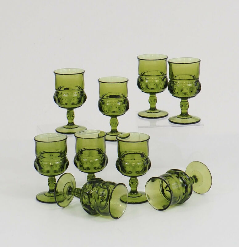 "Set/9 Vintage Indiana Glass Avocado Green Kings Crown Thumbprint 5.5"" Goblets /c"
