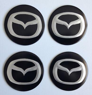 4 Mazda Aufkleber 58mm Schwarz Embleme Logo Nabendeckel 15 Mz