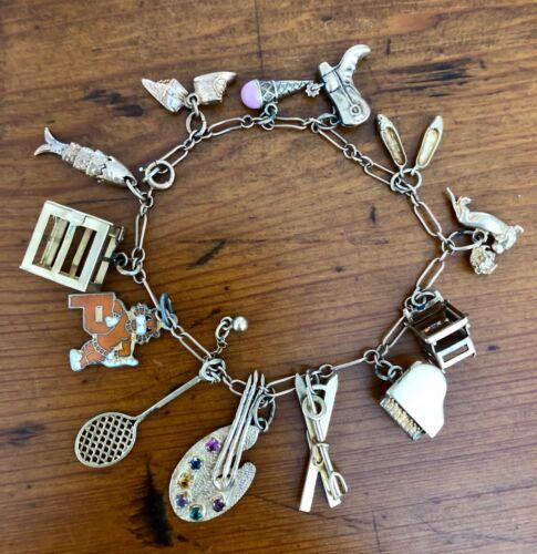 Antique Estate 14k Gold Charm Bracelet, 12 Gold charms, 8 moveable charms 24gms