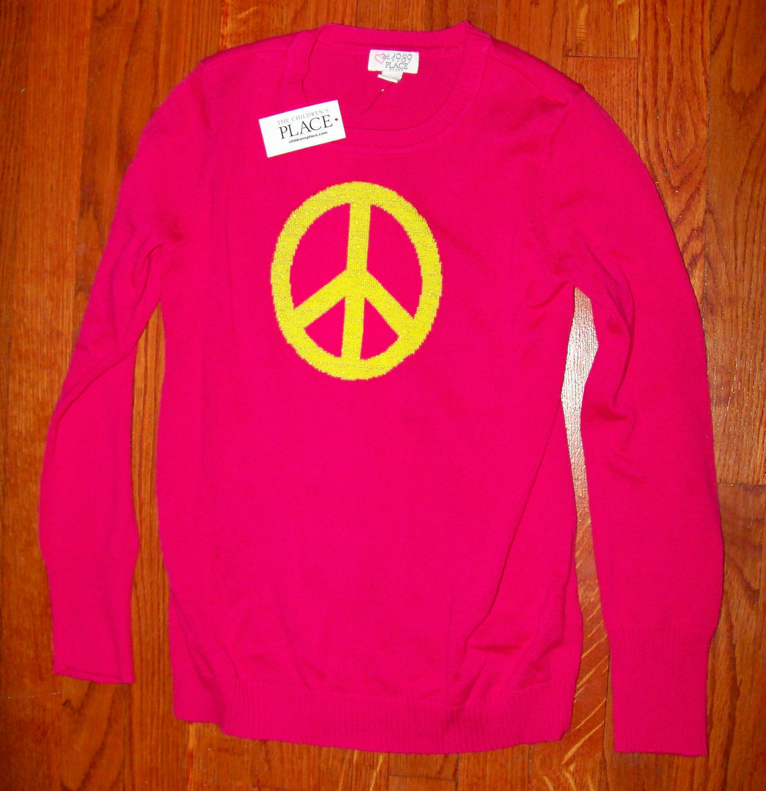 New! Girls THE CHILDREN'S PLACE Bright Pink & Yellow Peace S
