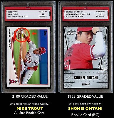 225 Shohei Ohtani   Mike Trout Topps 1St Graded 10 Rookie Card Lot Angels Otani