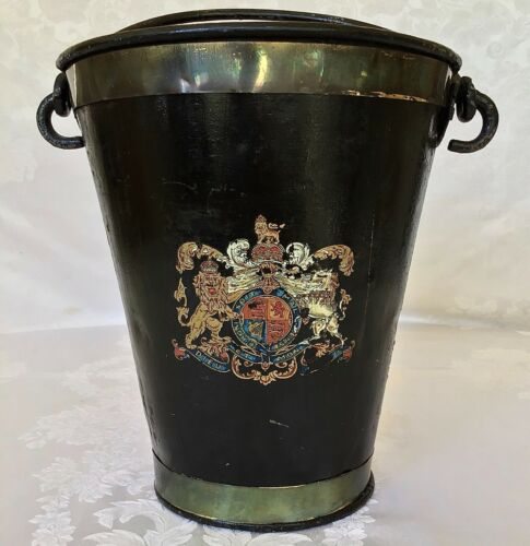 English Fire Bucket / 19thC Coat of Arms London Metal