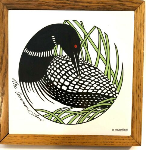 The Common Loon Bird Trivet Ceramic Tile With Oak Frame Marino Minnesota VTG