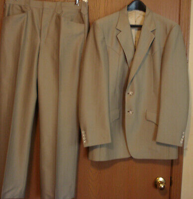 Dallas Western Apparel, 40 R, Magnificent Western Three Piece Suit, Light Brown