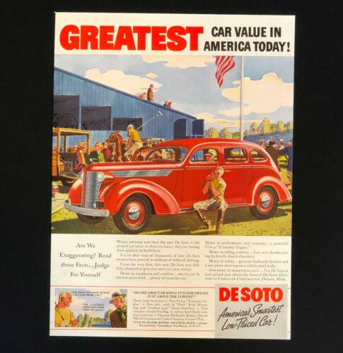1937 De Soto Advertisement Red Car at Horse Polo Match Vintage Print AD