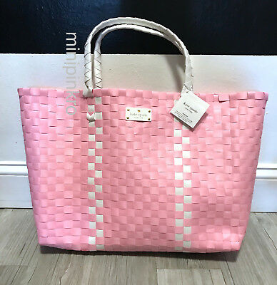 Kate Spade Woven Vinyl Pink & White Large Tote Shopping Beach - Woven Beach Bag