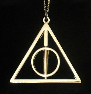 Harry-Potter-DEATHLY-HALLOWS-NECKLACE-Spins-Rotating-Center-Wizarding-World-USA