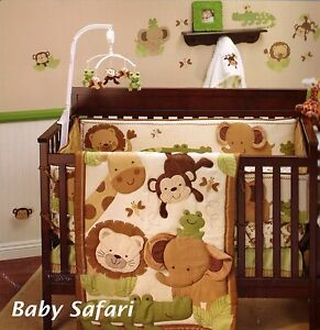 Baby-Safari-4-Piece-Crib-Bedding-Set-Monkey-Elephant-Lion-Giraffe