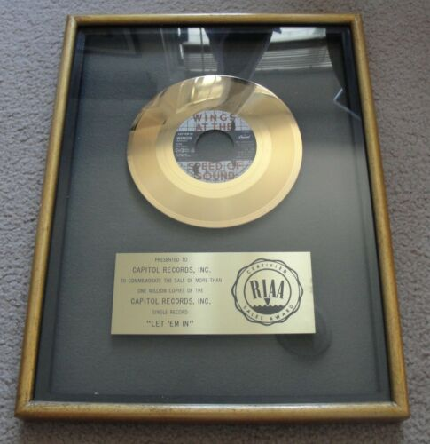 RIAA GOLD RECORD AWARD - PAUL McCARTNEY AND WINGS - LET