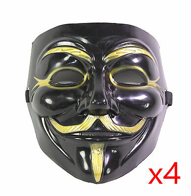 4 Black V for Vendetta Guy Fawkes Anonymous Costume Halloween Cosplay - 4 Guys Halloween Costumes